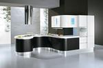 снимка на дизайни на огънати кухни с врати черен МДФ