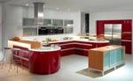 снимка на поръчкови кухни с овални форми в ярки цветове