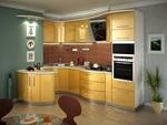 снимка на мдф мат кухни с овални форми в ярки цветове