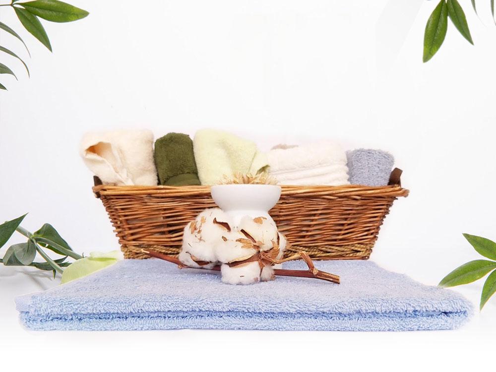 снимка на Хавлиена кърпа за СПА в бледо син цвят